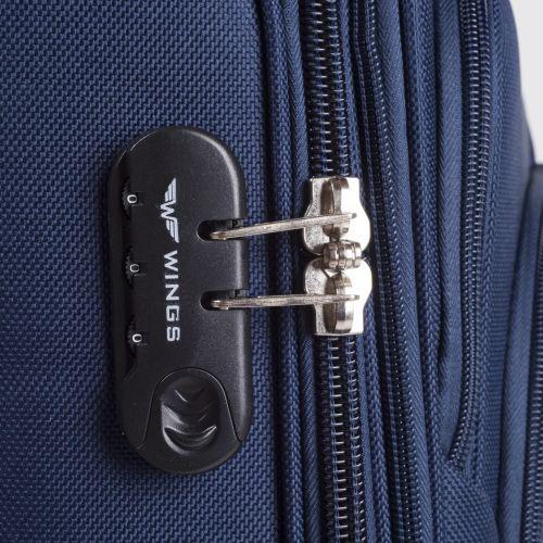 Тканевый чемодан Wings Buzzard 1706 маленький на 2 колесах серый