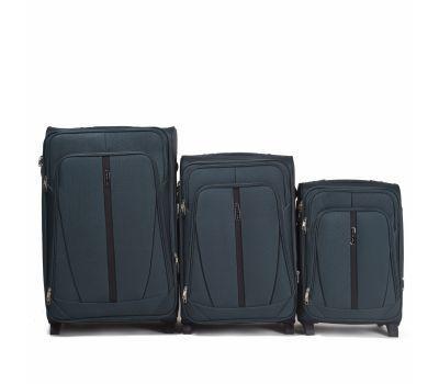 Набор тканевых чемоданов Wings Buzzard 1706 3 штуки на 2 колесах изумрудный