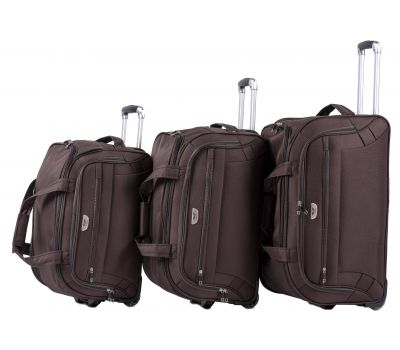 Набор дорожных сумок на 2 колесах Wings C1109 кофейный