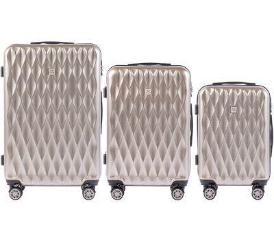 Набор чемоданов из поликарбоната Wings Golden 190 3 штуки бронзовый
