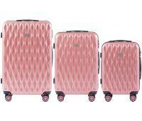 Набор чемоданов из поликарбоната Wings Golden 190 3 штуки розовый