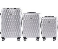 Набор чемоданов из поликарбоната Wings Golden 190 3 штуки серебряный