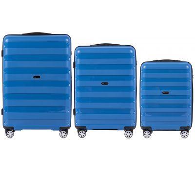 Набор полипропиленовых чемоданов Wings Hawk PP07 штуки голубой