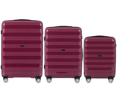 Набор полипропиленовых чемоданов Wings Hawk PP07 штуки бордовый