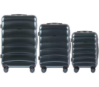 Набор чемоданов из поликарбоната Wings Iberian 160 3 штуки изумрудный