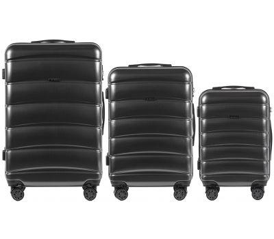 Набор чемоданов из поликарбоната Wings Iberian 160 3 штуки серый