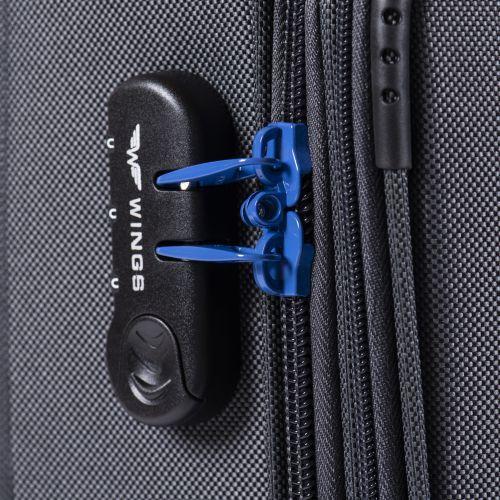 Мягкий чемодан Wings Junco 214 средний на 2-х колесах синий