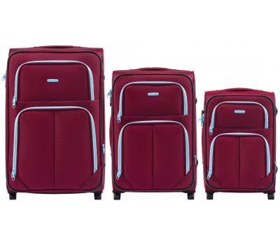 Набор мягких чемоданов Wings Junco 214 3 штуки на 2-х колесах бордовый