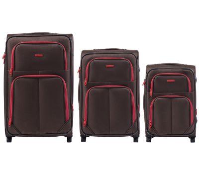 Набор мягких чемоданов Wings Junco 214 3 штуки на 2-х колесах кофейный