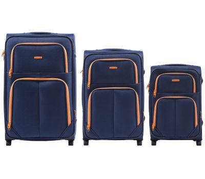Набор мягких чемоданов Wings Junco 214 3 штуки на 2-х колесах синий