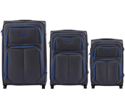 Набор мягких чемоданов Wings Junco 214 3 штуки на 2-х колесах серый