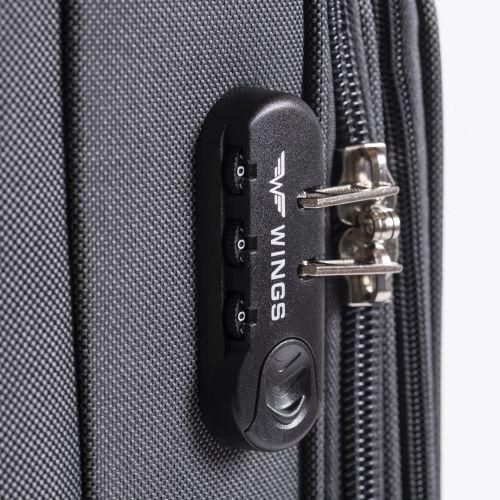 Тканевый чемодан Wings Junco 214 средний на 4 колесах кофейный