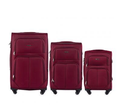 Набор тканевых чемоданов Wings Junco 214 на 4 колесах 3 штуки бордовый