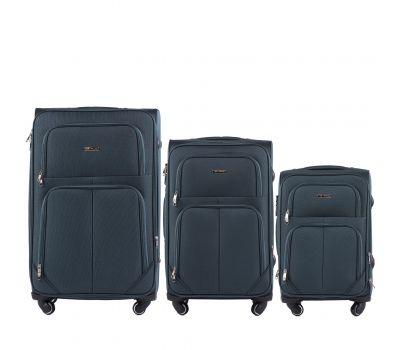 Набор тканевых чемоданов Wings Junco 214 на 4 колесах 3 штуки зеленый