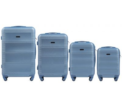 Комплект дорожных чемоданов на колесах Wings Linnet 203 4в1 голубой