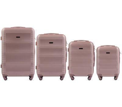 Комплект дорожных чемоданов на колесах Wings Linnet 203 4в1 розовое золото