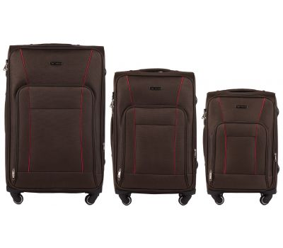 Набор тканевых чемоданов Wings Little Owl 1609 3 штуки на 4-х колесах кофейный