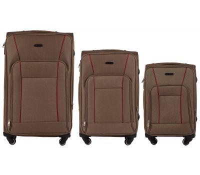 Набор тканевых чемоданов Wings Little Owl 1609 3 штуки на 4-х колесах коричневый