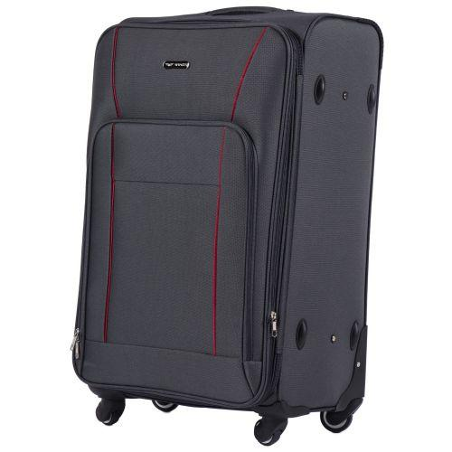 Набор тканевых чемоданов Wings Little Owl 1609 3 штуки на 4-х колесах серый