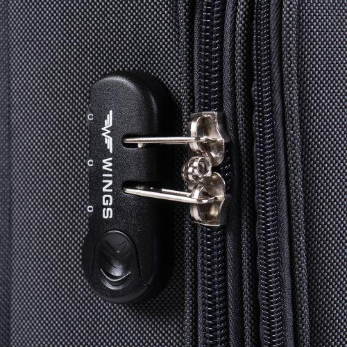 Тканевый чемодан Wings Little Owl 1609-4L большой на 4-х колесах коричневый