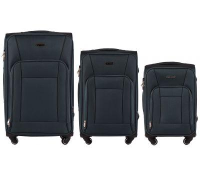 Набор тканевых чемоданов Wings Little Owl 1609 3 штуки на 4-х колесах зеленый
