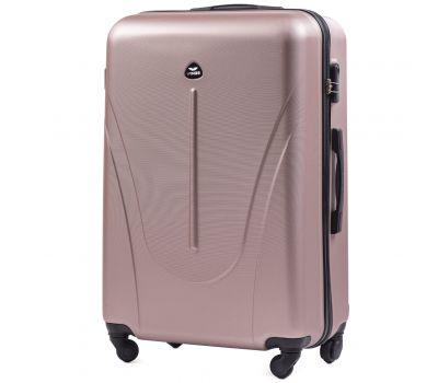 Пластиковый чемодан на колесах Wings Macaw 888 большой розовое золото