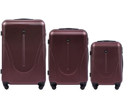Набор пластиковых чемоданов на колесах Wings Macaw 888 3в1 бордовый