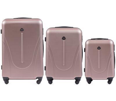Набор пластиковых чемоданов на колесах Wings Macaw 888 3в1 розовое золото