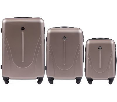 Набор пластиковых чемоданов на колесах Wings Macaw 888 3в1 шампань