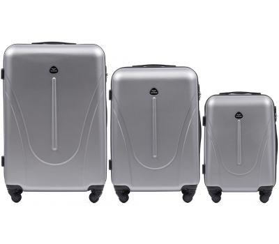 Набор пластиковых чемоданов на колесах Wings Macaw 888 3в1 серебряный