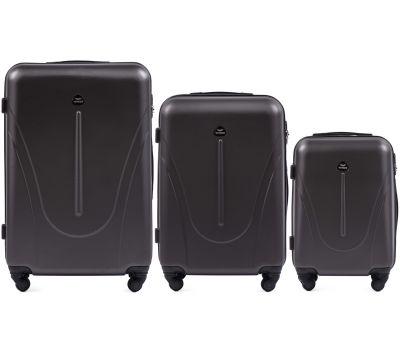Набор пластиковых чемоданов на колесах Wings Macaw 888 3в1 серый