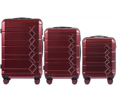 Набор чемоданов из поликарбоната Wings Savanna 185 3 штуки бордовый