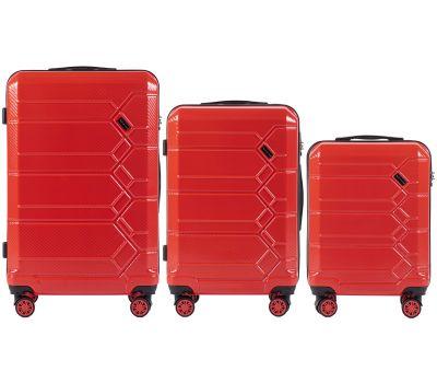 Набор чемоданов из поликарбоната Wings Savanna 185 3 штуки красный