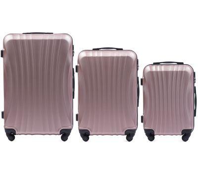 Комплект дорожных чемоданов на колесах Wings Swift 159 3в1 розовое золото