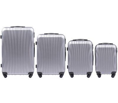 Комплект дорожных чемоданов на колесах Wings Swift 159 4в1 серебряный