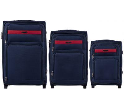 Набор тканевых чемоданов Wings Tawny Owl 1605 3 штуки на 2 колесах синий