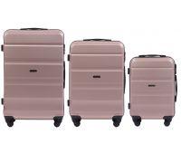 Набор дорожных чемоданов Wings AT01 3 штуки розовое золото