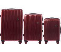Набор чемоданов из поликарбоната Wings Spotted 5223 3 штуки бордовый