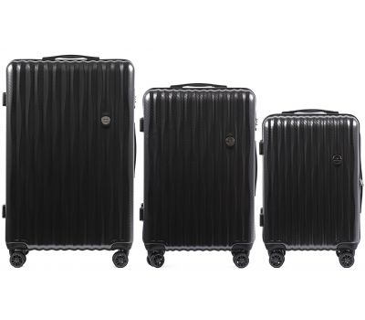 Набор чемоданов из поликарбоната Wings Spotted 5223 3 штуки графит
