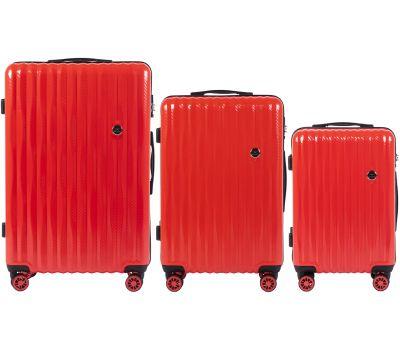 Набор чемоданов из поликарбоната Wings Spotted 5223 3 штуки красный