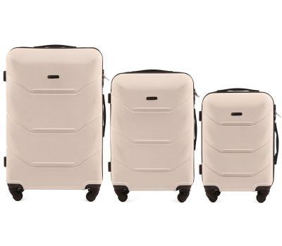 Набор дорожных чемоданов Wings Peacock 147 3 штуки ванильный