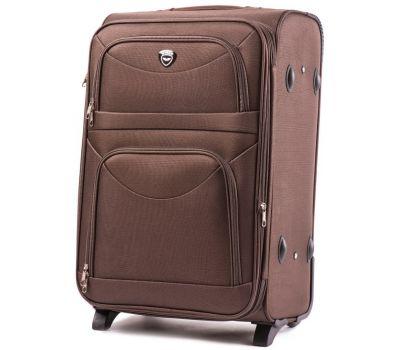 Тканевый чемодан Wings 6802 большой на 2 колесах кофейный