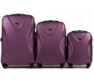 Набор пластиковых чемоданов на колесах Wings Predator 518 фиолетовый