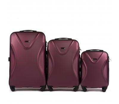 Набор пластиковых чемоданов на колесах Wings Predator 518 бордовый